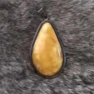 Vintage Silver Butterscotch Egg Yolk Amber Pendant